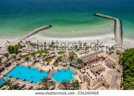 AJMAN, UNITED ARAB EMIRATES - SEPTEMBER 5, 2015: Beautiful area of Ajman Saray - luxurious 5-star hotel nestled near the turquoise waters of Arabian Gulf. Resort offers 205 rooms and suites. - stock photo