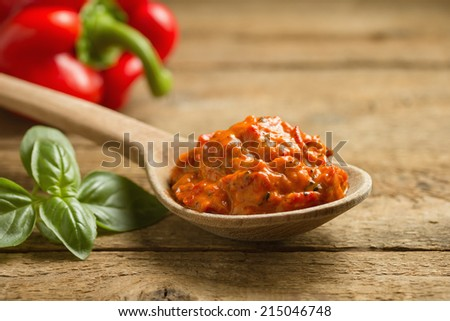 Ajvar, a delicious roasted red pepper and eggplant dish - stock photo