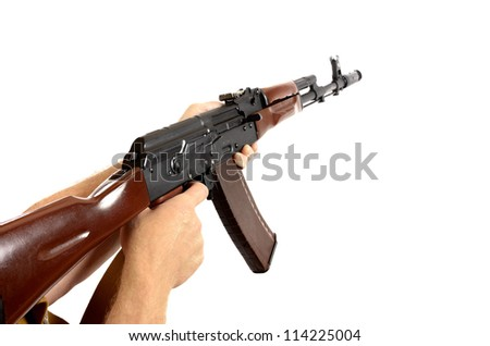AK-47 machine gun isolated - stock photo
