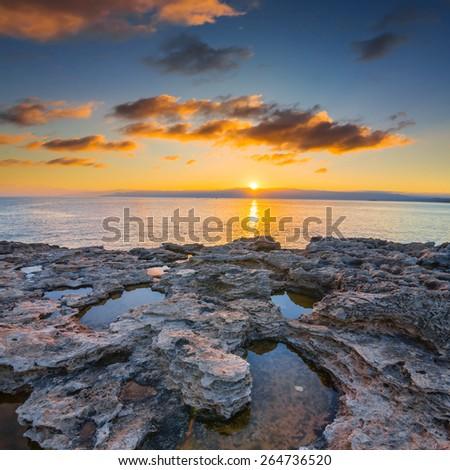 akamas cape sunset, cyprus - stock photo