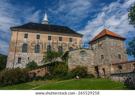 Akershus castle in Oslo, Norway - stock photo