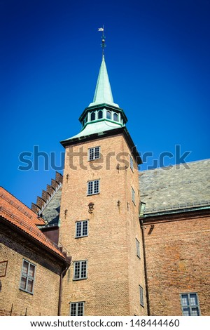 Akershus Fortress, a medieval castle that was built to protect Oslo, the capital of Norway. It has also been used as a prison. - stock photo