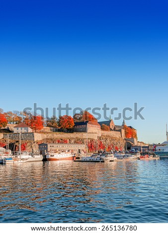 Akershus fortress at autumn sunset - stock photo