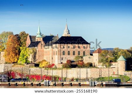 Akershus Fortress at sunset on autumn day, Oslo, Norway - stock photo