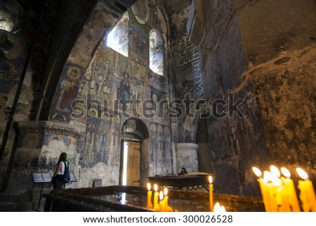 AKHTALA, ARMENIA - JULY 19, 2015: Interior of Akhtala fortress-monastery a 10th-century fortified Georgian Orthodox Church monastery located in the town of Akhtala in the marz of Lori. - stock photo