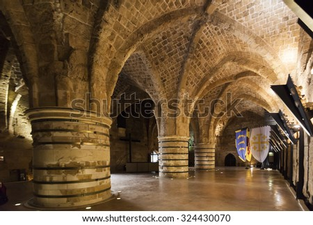 AKKO (ACRE). ISRAEL. OCTOBER 23, 2014: Underground Citadel and prison museum is one of the best museums in Israel outside of Jerusalem. - stock photo