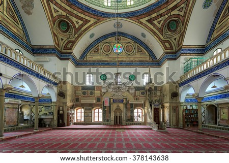 AKKO, ISRAEL - JANUARY 05, 2016: Al-Jazzar Mosque (1781) .Ottoman architecture style,the third largest mosque in Israel.Famous open tourist site of Old town of Acre which is UNESCO World Heritage