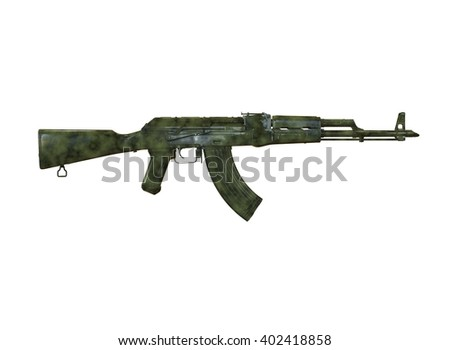 akm assault rifle 3d illustration in color. metal parts. transparent body. lines contour. military color. on white background - stock photo