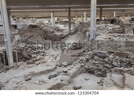 Akrotiri,excavation site of a Minoan Bronze Age settlement on the Greek island of Santorini