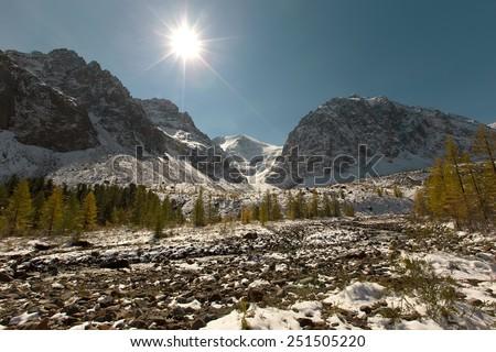 Aktru valley with autumn forest, Altai mountains, Siberia, Russia - stock photo