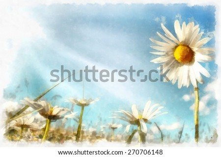 akvarel vintage effect of spring daisy flower field, watercolor - stock photo