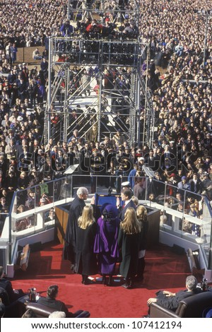 Al Gore, former Vice President, takes the Oath of Office on Inauguration Day from Chief Justice William Rehnquist on January 20, 1993 in Washington, DC - stock photo