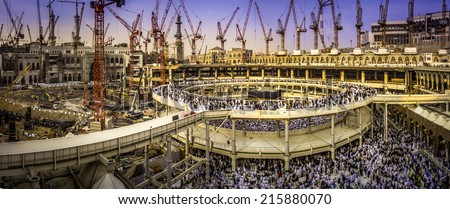 Al Haram Mosque under construction  in Mecca - Saudi Arabia -  20.02.2014 - stock photo