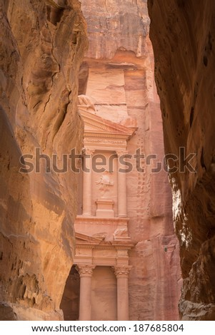 Al Khazneh or The Treasury at Petra, Jordan-- it is a symbol of Jordan, as well as Jordan's most-visited tourist attraction. Petra has been a UNESCO World Heritage Site since 1985