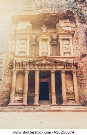 Al Khazneh or The Treasury at Petra, Jordan. The city of Petra was lost for over 1000 years. Now one of the Seven Wonders of the Word - stock photo