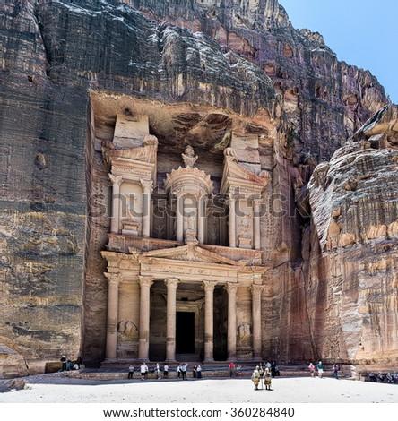 Al Khazneh or The Treasury in the ancient cave city of Petra - Jordan - stock photo
