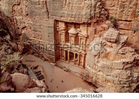 Al Khazneh - the main sign of ancient site of Petra. Jordan. - stock photo