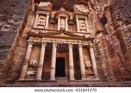 Al Khazneh - the treasury, ancient city of Petra, Jordan - stock photo