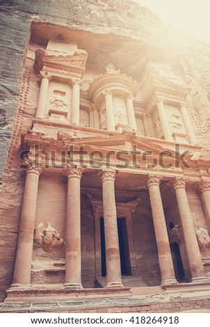 Al Khazneh - the treasury of Petra ancient city, Jordan. The city of Petra was lost for over 1000 years. Now one of the Seven Wonders of the Word - stock photo