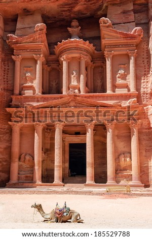 Al Khazneh, the Treasury, rock carved temple in Petra, Jordan