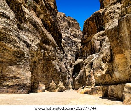Al-Siq in Petra, Jordan - stock photo