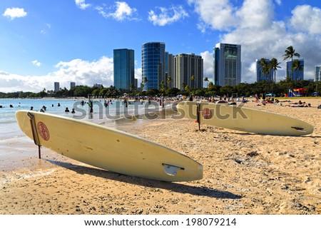 ala moana beach in Honolulu, Hawaii - stock photo