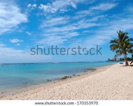 Ala Moana Beach on a beautiful day on Oahu, Hawaii. - stock photo