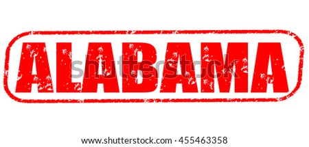 alabama red stamp on white background.