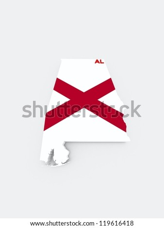 alabama state flag on 3d map - stock photo