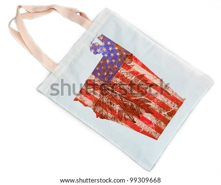 Alabama state of the United States of America in grunge flag pattern stamp on white shopping bag isolated on white background - stock photo