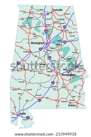 Indiana State Road Map Interstates Us Stock Vector - Us map interstates