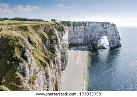 Alabaster coast of Normandy with rocks, sea and blue sky in France
