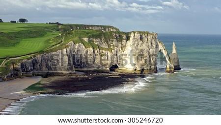 Alabaster Coast vista at Etretat in Normandy, France - stock photo