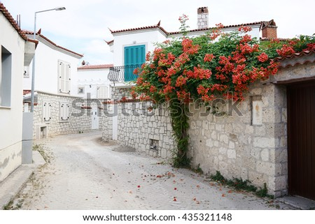 Alacati street view. Alacati is populer tourist destination in Turkey.                      - stock photo