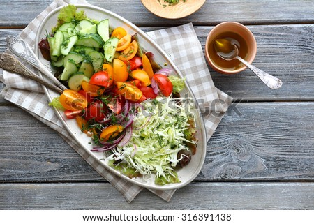 alad with cucumbers and cabbage, food - stock photo