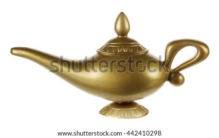 Aladdin Magic Lamp on White Background - stock photo