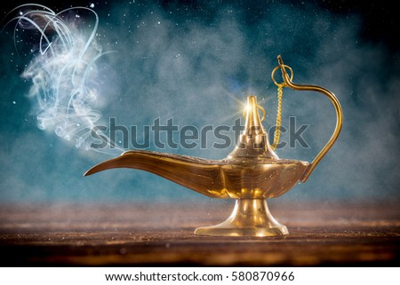 Aladdin Magic Lamp On Wooden Table Stock Photo 580870966