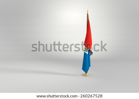 Alagoas state isolated flag on a brown and golden wooden mast 3d illustration - stock photo