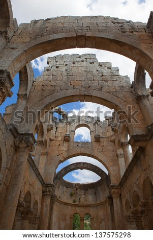 Alahan monastery, is a late roman eccelesiastical complex built on a series terraces towards the top of a mountain.The main period of construction was in the late fifth to early sixth centuries AD - stock photo