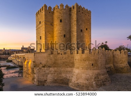 alahorra Tower on the Roman Bridge in Cordoba, Andalusia, Spain