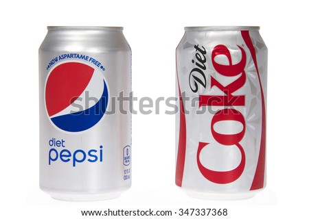 ALAMEDA, CA - DECEMBER 04, 2015: One can of Diet Coke next to one can of Diet Pepsi. Diet soda sales have tumbled as consumers are turned off by studies on artificial sweeteners.