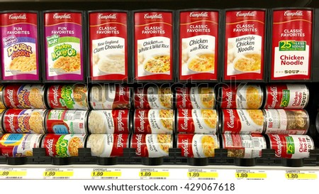 Alameda, CA - May 29, 2016: Campbell's soup on store shelf. Campbell Soup Company, is an American producer of canned soups and related products sold in 120 countries around the world