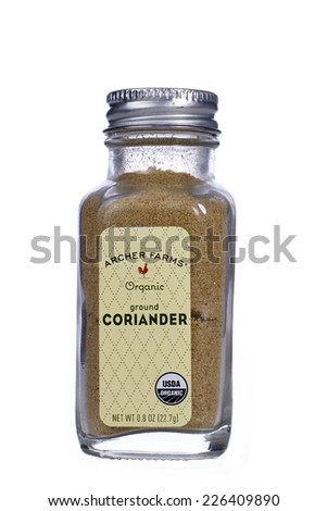 ALAMEDA, CA - OCTOBER 27, 2014: 0.8 ounce jar of Archer Farms brand Organic Ground Coriander. Coriander makes a great component in spice rubs for fish and chicken.