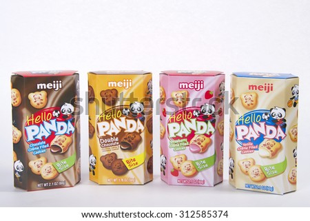 ALAMEDA, CA - SEPTEMBER 02, 2015: Four 1.76 ounce box of meiji brand Hello Panda Double Chocolate, Chocolate Creme filled, Double Chocolate,  Strawberry and Vanilla Cream. Pick your favorite flavor.
