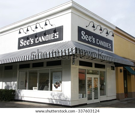 ALAMEDA, CALIFORNIA - NOVEMBER 09, 2015: See's Candies is a manufacturer and distributor of candy, particularly chocolates in the United States.