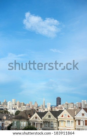 alamo square - stock photo
