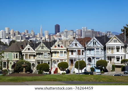 Alamo square and San Francisco skyline, California, USA