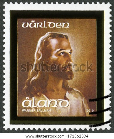 ALAND - CIRCA 2010: A stamp printed in Aland shows Head of Christ, circa 2010 - stock photo
