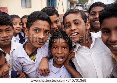 ALANGAON, MAHARASHTRA, INDIA - February 22, 2014: Happy Indian rural boys at their school, Alangaon, Amravati , Maharashtra, India