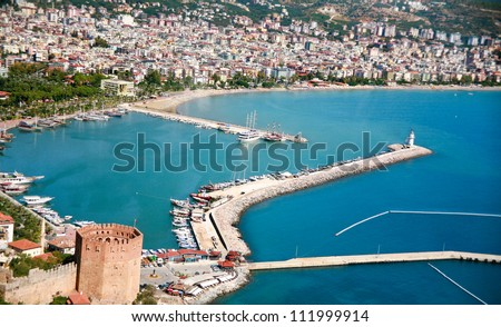 Alanya city hill, city coast, view from castle. Turkey - stock photo